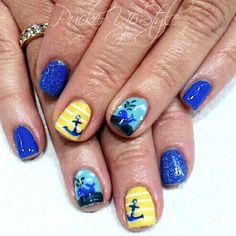 Summer lovin, nails by Sophia @puckerupstyle #nailart #naildesigns #handpainted #anchor #summernails #seasonssalon @sophia_wilkes ⚓️ #Padgram