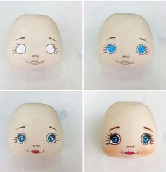 Doll eyes diy faces Ideas - Her Crochet Doll Face Paint, Doll Painting, Doll Crafts, Diy Doll, Fabric Toys, Fabric Crafts, Doll Clothes Patterns, Doll Patterns, Doll Eyes
