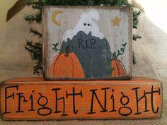 Primitive Country Ghost Pumpkins Fright Night Halloween Shelf Sitter Wood Blocks #PrimtiveCountry
