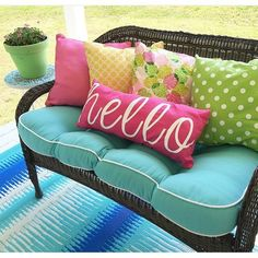 Looking for a way to liven up your outdoor living space? Then you'll want to look into the brightest colors. The photo above shows how well different bright spring shades go together, like bright pink, sunny yellow, aqua and bright green. The beauty of these colors is that they're so bright, they work in both the spring and the summer.