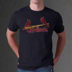 """St. Louis Cardinals Fall Navy '47 """"Birds on a Bat' Brand Vintage Scrum T-Shirt"""