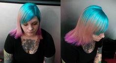 Balayage hair, colored balayage ,coral hair, blue hair,pink hair