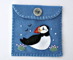 Felt coin purse, Puffin purse,handmade felt purse,Puffin gift bag,felt wallet,small purse, Blue with puffin applique and embroidery.