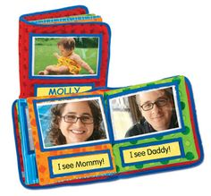 """All About Me! Personalized Photo Book by www.ttgo.com. This can be used as a great """"My First Signs"""" Book! The soft cloth pages make it very baby friendly. Fill it with family pictures and photos of her favorite things - this is what she will want to """"talk (sign) to you about!"""" At age 2, it is still one of my daughter's favorite books to look through. Some of her first signs in this book turned out to be her first words!"""