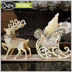 For the sleigh, she used thin chipboard with vintage book paper adhered to one side and patterned paper on the other side. After your paper a...