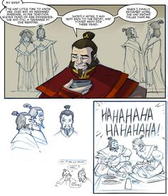 Iroh notes 01 by rufftoon. Lol, Iroh and Jeong Jeong as drinking buddies!