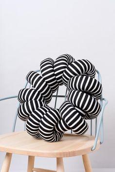(S) B&W Stripes Round Knot Pillow