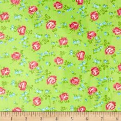 Tanya Whelan Sugar Hill Laminated Cotton Scattered Roses Green from @fabricdotcom  Designed by Tanya Whelan for Free Spirit, this laminated cotton print fabric meets the key provisions of the CPSIA (Comprehensive Consumer Product Safety Improvement Act of 2008). This fabric does not contain any lead or thyolate. Soft, protective film is laminated to the face of the fabric, its softness makes this cloth extremely pliable for fashion, and the durability combined with easy-care convenience ...