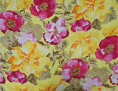 "Ebay - Yellow Cotton Fabric Designer Floral Printed 44"" Wide Sewing By The Yard"