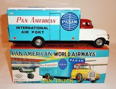 YONEYA Japanese Tin Litho Friction 1950s PAN AMERICAN / PAN AM VAN TRUCK w/ BOX | eBay