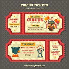Ticket - Retro pacote de bilhetes de circo Vetor grátis