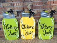 Welcome Yall Mason Jar Door Hangers