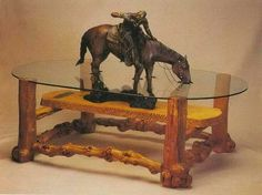 Bronze statue table