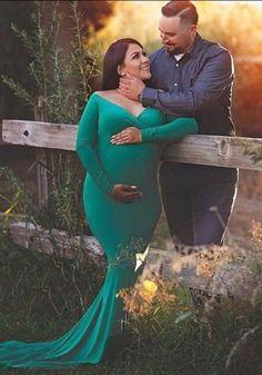 b3eea97ef2 Green Draped Off Shoulder Backless Deep V-neck Maternity Photoshoot Elegant  Maxi Dress