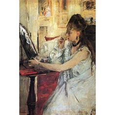 "Buyenlarge 'Young Woman Powdering Her Face' by Berthe Morisot Painting Print Size: 36"" H x 24"" W"