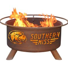Looking for the perfect accessory for your patio or next tailgating party? The Southern Miss Golden Eagles Patio Fire Pit & BBQ Grill Set will do the trick!