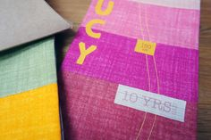 Personalised kids' rainbow fabric growth/ by millicentandbird