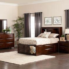 Espresso Bedroom Set Queen | Queen Size Storage Bed Set Home  Decor+Rustic+Traditional