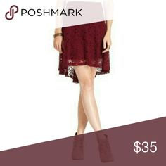 Sale American Rag High Low Skirt I DO NOT TRADE. PLEASE DO NOT ASK  American Rag High- Low Skirt Color Zinfandel Festival Favorites Gold colored back zip Shell 70% cotton 30% nylon (lace) Lining 100% polyester American Rag Skirts High Low
