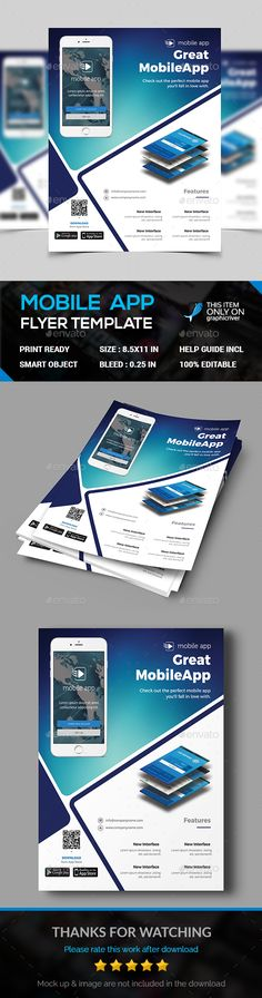 Modern App Flyers  Flat Style Mobile Applications And Flyer Template