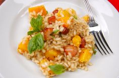 Peach and pancetta risotto