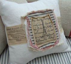 "Paris French Red Ticking Cottage Shabby Chic Distressed White Denim 12"" Pillow $39.00"