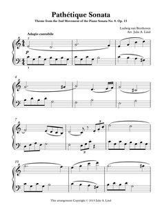 A simplified, easy, version of Beethoven's Pathetique Sonata, 2nd movement of the Piano Sonata No. 8. Op. 13. Arranged in the key of C Major, this version brings out the beauty of Beethoven's Sonata without the challenges of the original key signature. An excellent introduction into the beauty of classical music for late elementary, or early intermediate piano students.