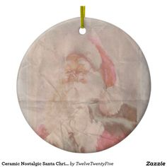 Ceramic Nostalgic Santa Christmas Otnament Double-Sided Ceramic Round Christmas Ornament