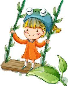 Рисунок девочка на качели