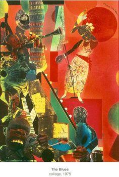 The Blues collage, 1975 Collage Art, Collages, Romare Bearden, African American Culture, Painter Artist, Harlem Renaissance, Ap Art, Black History Month, Black Art