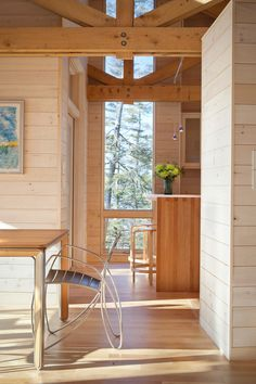 Painting Knotty Pine Paneling Rustic Dining Room with Beams in Portland Maine