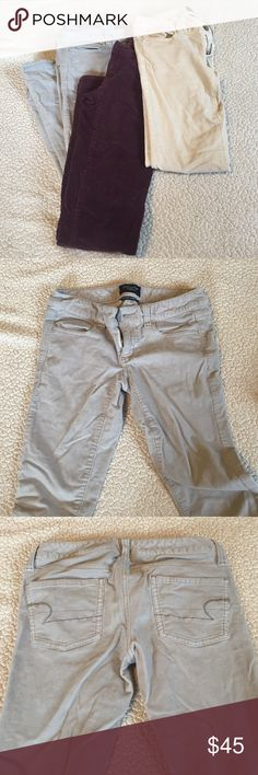 """American eagle corduroy BUNDLE THREE corduroy pants bundle; all from American eagle size 0- the grey pair is 0 short. All """"jeggings"""" and pre- loved but kept in excellent condition. Includes purple, light grey, and light tan. American Eagle Outfitters Pants Skinny"""