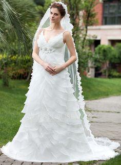 Wedding Dresses - $216.99 - Empire V-neck Chapel Train Organza Satin Wedding Dress With Beading Flower(s) Cascading Ruffles (002000620) http://jjshouse.com/Empire-V-Neck-Chapel-Train-Organza-Satin-Wedding-Dress-With-Beading-Flower-S-Cascading-Ruffles-002000620-g620