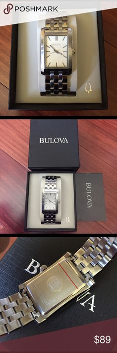 NEW MEN'S BULOVA WATCH Brand new. Unworn with tags attached Men's Bulova watch. Rectangular grey dial with stick markers. Sweep second hand. Silver-tone case and stainless steel bracelet. Water resistance to 30 meters. item size: 29.5mm L x 46mm W x 9mm Thick Bulova Accessories Watches
