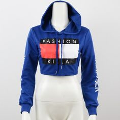 Womens Fashion Letter Print Cropped Sweatshirt Hoodie Sexy Pullover Jumper 2016 New Spring Summer