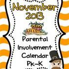 """If you want more meaningful """"homework"""" for your PK or Kindergarten students, this freebie November 2013 Parental  Involvement Calendar is for you. ..."""