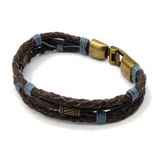 Genuine Braided Blue Brown Leather & Gold Tone Clasp Bracelet $8.00