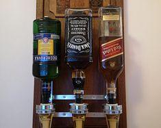 Double Liquor Alcohol Whiskey wood Dispenser, Gift for Him, Jack Daniels Birthday, Birthday gift, Father's Day Gift for dad Whiskey Dispenser, Alcohol Dispenser, Alcohol Storage, Jack Daniels Gifts, Jack Daniels Birthday, Shellac Finish, Glass Display Case, Wall Bar, Liquor Bottles