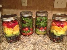 Mason jar salad and fruit salad