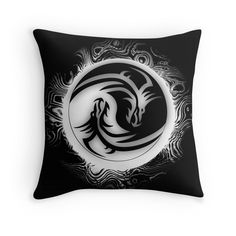 Yin and Yang Dragons in Black and White