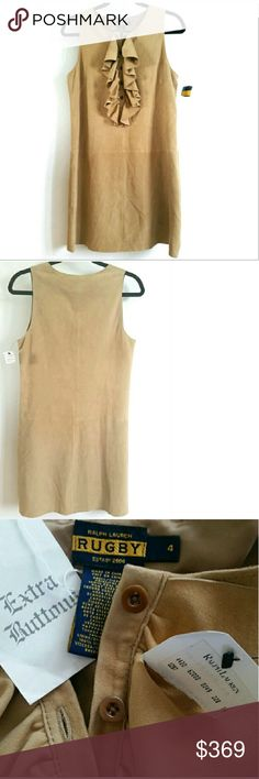 """Ralph Lauren 4 Tan Suede Ruffle Dress - NEW w/Tags This Ralph Lauren Tan Suede Ruffled Dress is a Size 4, NEW With Tags. Gorgeous, timeless, versatile style...make boho/festival looks with feather earrings & gladiator sandals or add riding boots & a scarf. 100% real suede. Bust measures 19"""" across laying flat, measured from pit to pit, so 38"""" around. 34"""" long. Lined. Extra buttons included. ::: No trades. Ralph Lauren Dresses"""