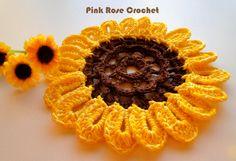 PINK ROSE CROCHET: Girassol Pega Panelas Sunflower Pot Holders