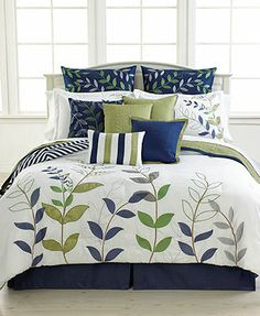 Darjeeling 12 Piece Comforter Sets ~ Guest?  Love navy and lime!