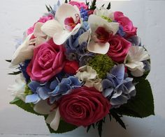 blue wedding bouquets on The Flower Magician: Hot Pink & Royal Blue Wedding Bouquet Blue Wedding Flowers, Bridesmaid Flowers, Bride Bouquets, Flower Bouquet Wedding, Pretty Flowers, Floral Wedding, Flower Bouquets, Wedding Colors, Rose Fushia