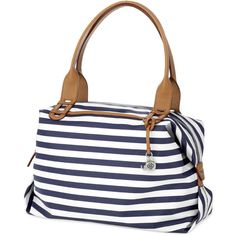 Stella & Dot How Does She Do It - Navy Stripe ($89) ❤ liked on Polyvore featuring bags, handbags, polka dot purse, navy blue handbags, navy purse, striped purse and navy striped purse