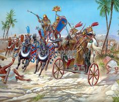 The battle of Megiddo ( 9th of may 1457 BC ) was fought between Egyptian forces under the command of Pharaoh Thutmose III and a large rebellious coalition of Canaanite vassal states led by the king of Kadesh. ~ art by Igor Dzis