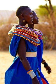 Masai women wearing traditional necklaces.