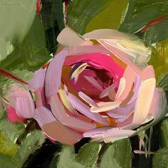 Pink Rose no. 14 Art Print by Angela Moulton 8 x 8 inch #artpainting