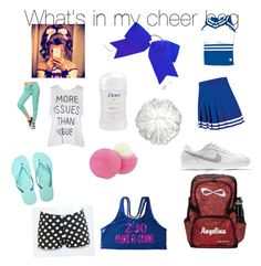 """""""What's in my cheer bag"""" by kaylee2103 on Polyvore featuring beauty, NIKE, Chassè, SwimSpot and Eos"""
