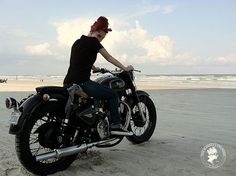 Royal Enfield Bullet & Girl, Daytona Beach, FL, USA by Chris F. Bartlett, via Flickr